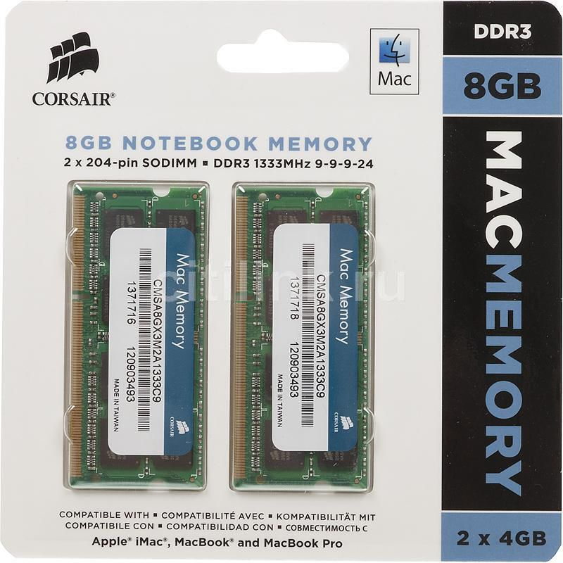������ ������ CORSAIR CMSA8GX3M2A1333C9 DDR3 - 2x 4�� 1333, SO-DIMM, Mac Memory, Ret