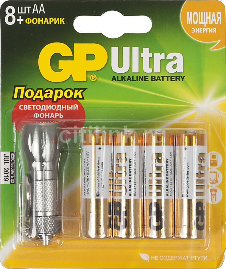 Батарейка GP Ultra Alkaline 15AU/FT LR6 (+ фонарик),  8 шт. AA