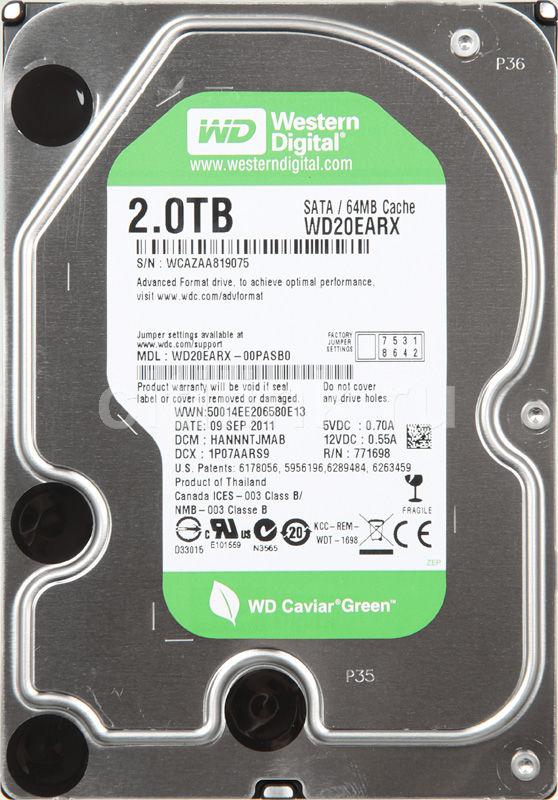 Жесткий диск WD Caviar Green WD20EARX,  2Тб,  HDD,  SATA III,  3.5