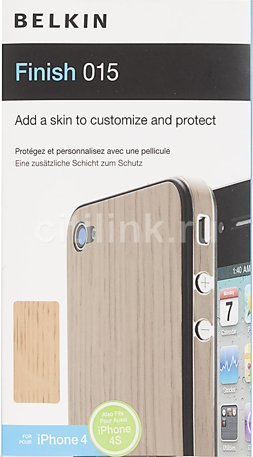 Наклейка BELKIN Finish 015  для Apple iPhone 4,  1 шт, светло-коричневый [f8z893cwc01]
