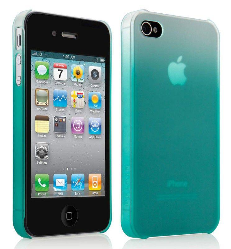 Чехол (клип-кейс) BELKIN Matte Fade Essential F8Z892cwC01, для Apple iPhone 4, бирюзовый