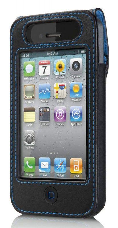 Чехол (клип-кейс) BELKIN Verve F8Z608cw, для Apple iPhone 4, черный