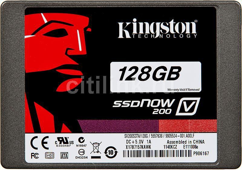 Накопитель SSD KINGSTON V200 SV200S3N7A/128G 128Гб, 2.5