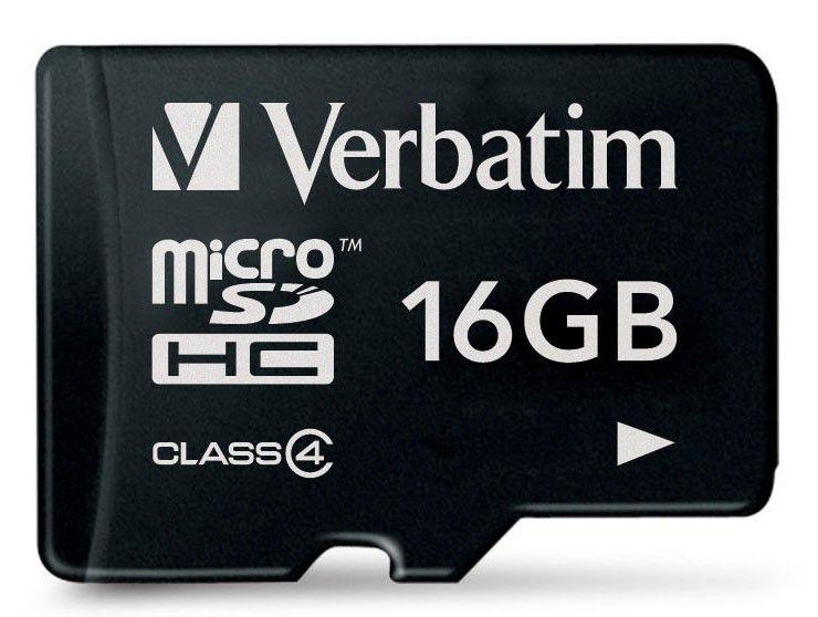 Карта памяти microSDHC VERBATIM 16 ГБ, Class 4, 44007,  1 шт.