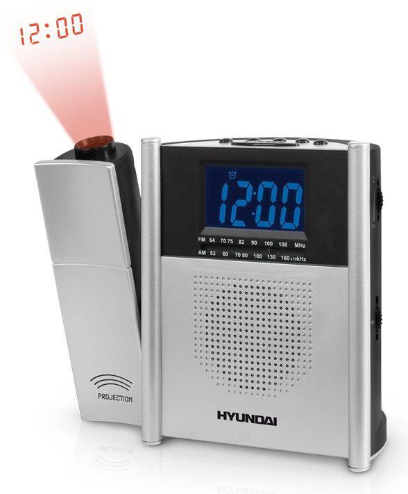 Радиобудильник HYUNDAI H-1544, синяя подсветка,  серебристый