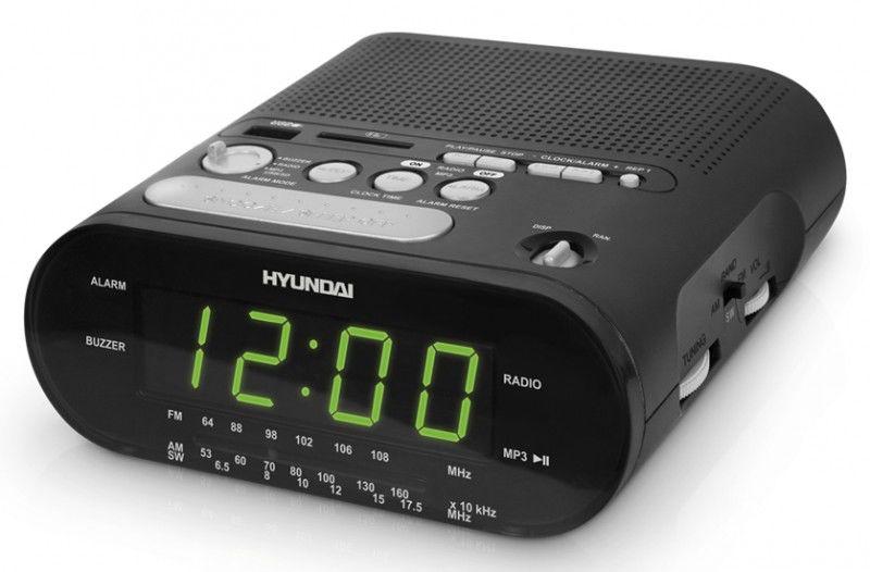 Радиобудильник HYUNDAI H-1546, зеленая подсветка,  черный