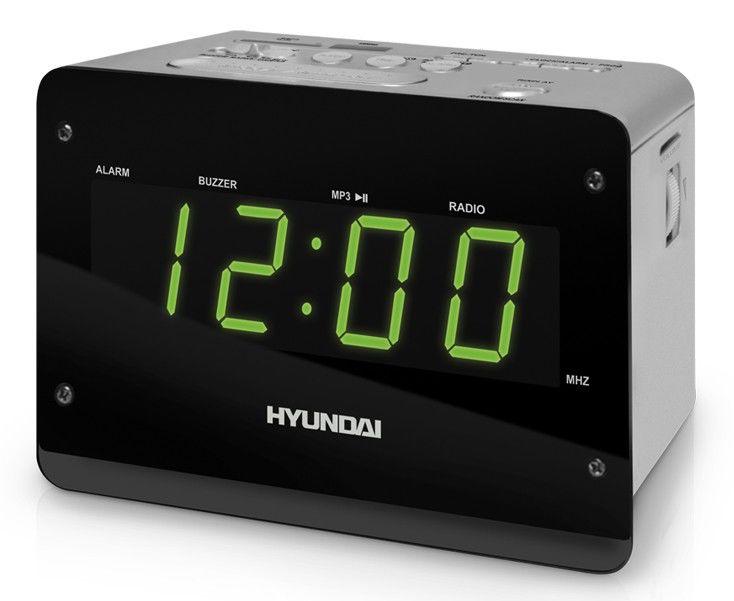 Радиобудильник HYUNDAI H-1547, зеленая подсветка,  серый