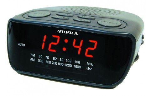 Радиобудильник SUPRA SA-36FM, красная подсветка,  черный