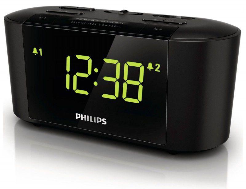 Радиобудильник PHILIPS AJ3500/12, зеленая подсветка,  черный
