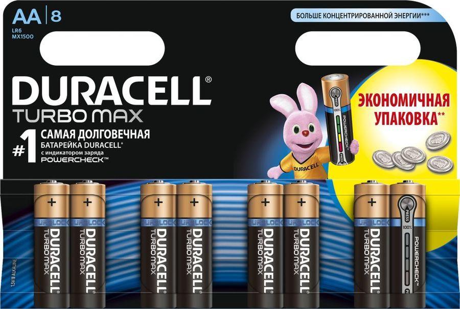 AA Батарейка DURACELL Turbo MAX LR6-8BL,  8 шт.