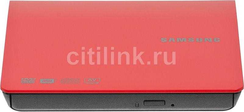 Оптический привод DVD-RW SAMSUNG SE-208AB/TSRS, внешний, USB, красный,  Ret