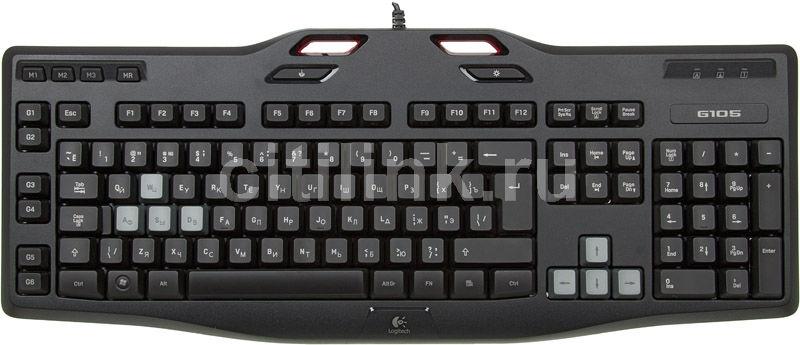 Клавиатура LOGITECH G105,  USB, черный + красный [920-003457]