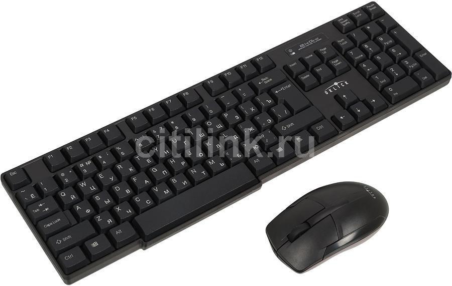 Комплект (клавиатура+мышь) OKLICK 200M, USB, беспроводной, черный