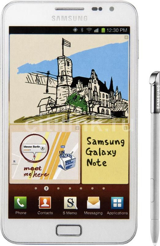 Смартфон SAMSUNG Galaxy Note GT-N7000 (чехол EFC-1E1FB),  белый