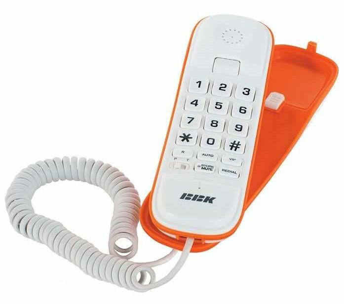 Проводной телефон BBK BKT-108 RU, белый и  оранжевый