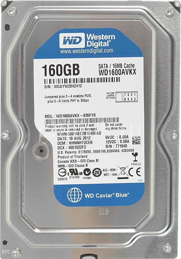 Жесткий диск WD AV WD1600AVKX,  160Гб,  HDD,  SATA III,  3.5