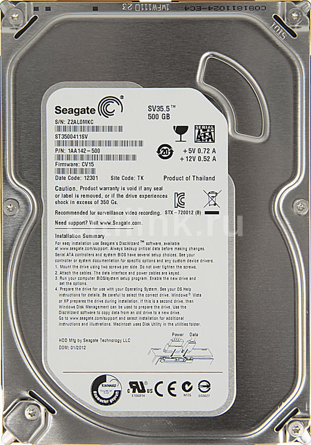 Жесткий диск SEAGATE SV35.5 ST3500411SV,  500Гб,  HDD,  SATA III,  3.5