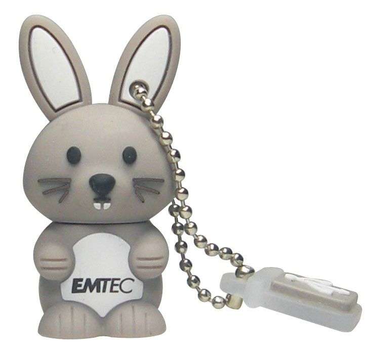 Флешка USB EMTEC M321 Bunny 8Гб, USB2.0, серый и белый [ekmmd8gm321]