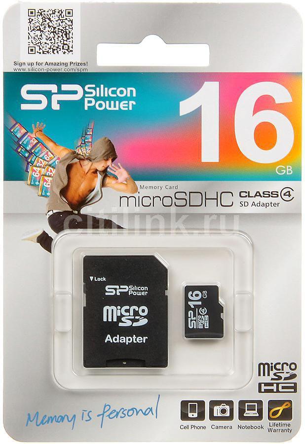 Карта памяти microSDHC SILICON POWER 16 ГБ, Class 4, SP016GBSTH004V10-SP,  1 шт., переходник SD