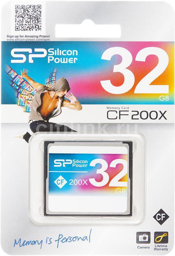 Карта памяти CF SILICON POWER 32 ГБ, 200X, SP032GBCFC200V10,  1 шт.