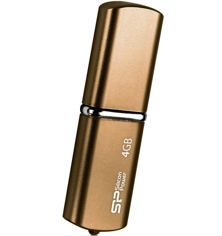 Флешка USB SILICON POWER LuxMini 720 4Гб, USB2.0, коричневый [sp004gbuf2720v1z]