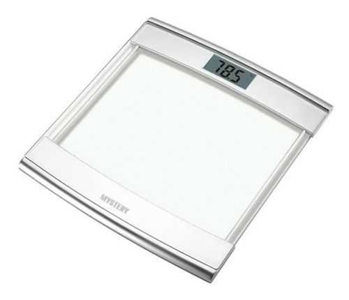 Напольные весы MYSTERY MES-1804, до 180кг, цвет: серебристый/белый