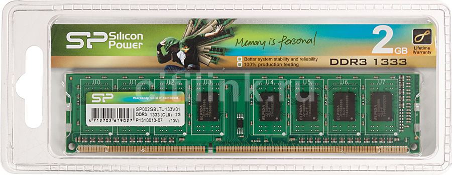 Модуль памяти SILICON POWER SP002GBLTU133 DDR3 -  2Гб 1333, DIMM,  Ret