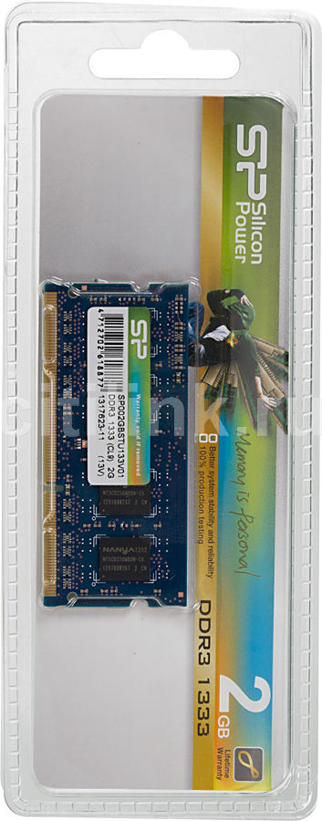 Модуль памяти SILICON POWER SP002GBSTU133 DDR3 -  2Гб 1333, SO-DIMM,  Ret