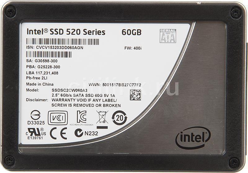 Накопитель SSD INTEL 520 Series SSDSC2CW060A310 60Гб, 2.5