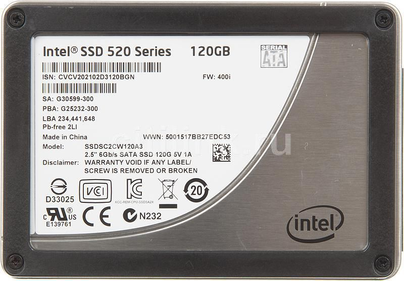 Накопитель SSD INTEL 520 Series SSDSC2CW120A310 120Гб, 2.5