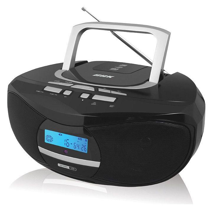 Аудиомагнитола BBK BX102U,  черный и серебристый