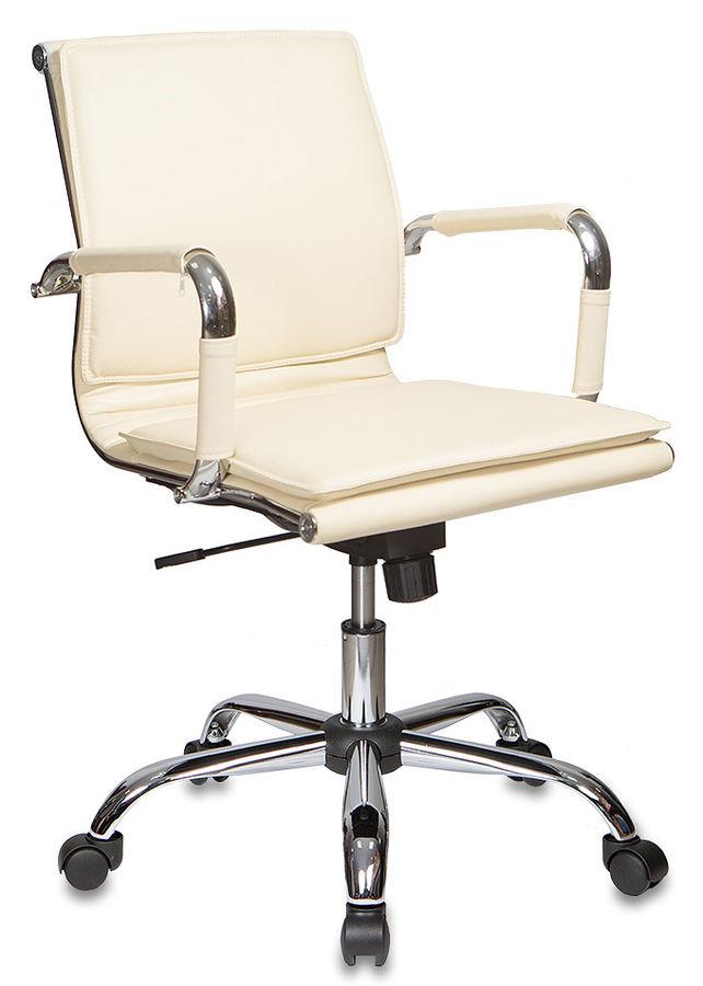 Кресло руководителя БЮРОКРАТ Ch-993-Low, на колесиках, искусственная кожа, слоновая кость [ch-993-low/ivory]