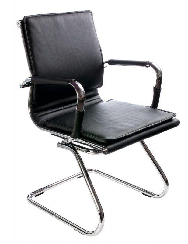 Кресло БЮРОКРАТ Ch-993-Low-V, на полозьях, искусственная кожа, черный [ch-993-low-v/black]
