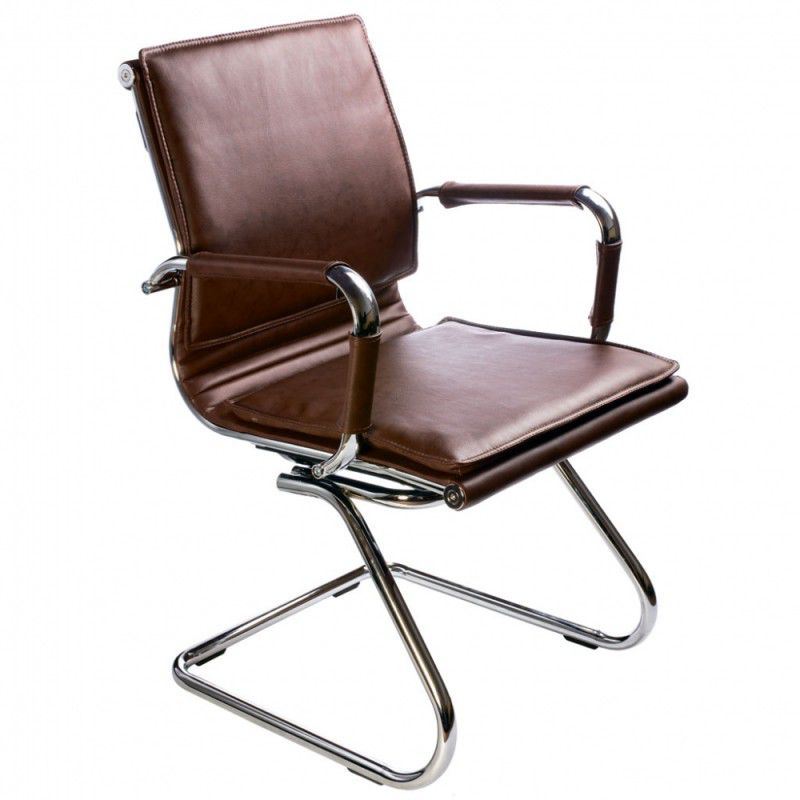 Кресло БЮРОКРАТ Ch-993-Low-V, на полозьях, искусственная кожа, коричневый [ch-993-low-v/brown]