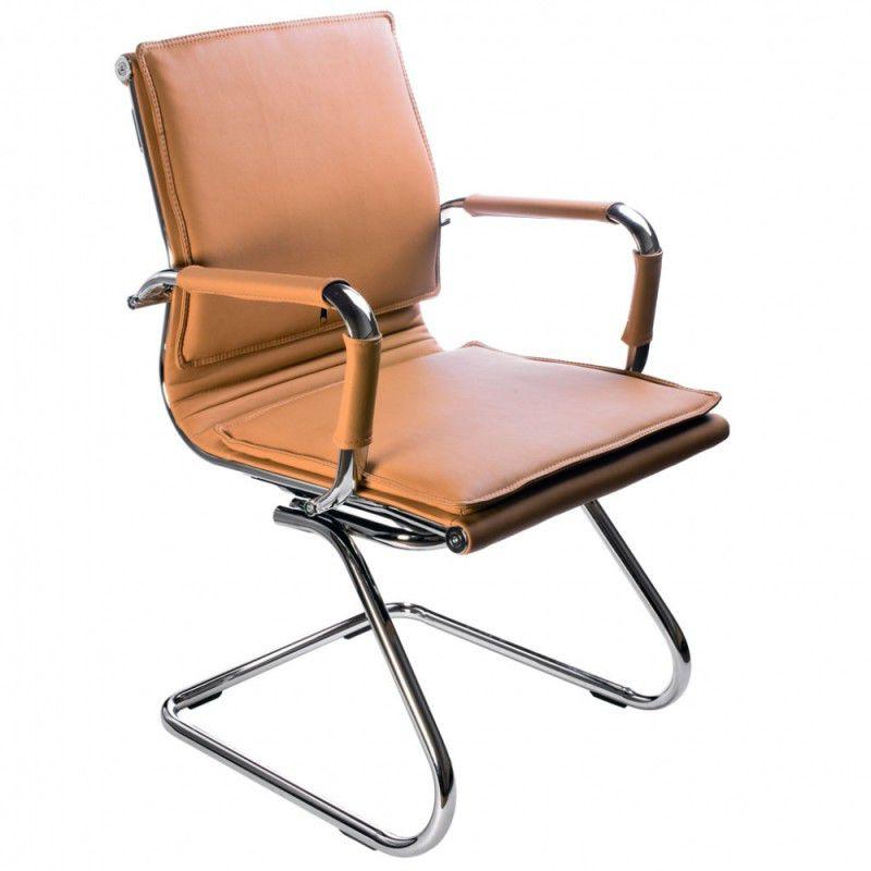Кресло БЮРОКРАТ Ch-993-Low-V, на полозьях, искусственная кожа, светло-коричневый [ch-993-low-v/camel]