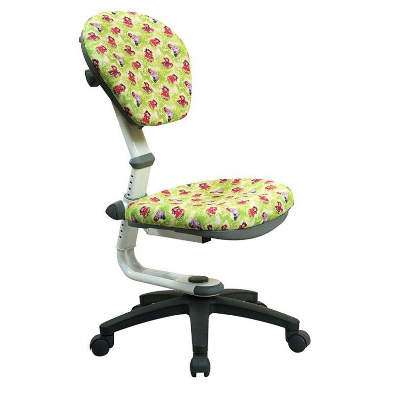 Кресло детское БЮРОКРАТ KD-5, на колесиках, ткань, куколки на зеленом фоне [kd-5/wh/dolls-gr]