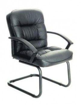 Кресло БЮРОКРАТ T-9908AXSN-Low-V, на полозьях, кожа, черный