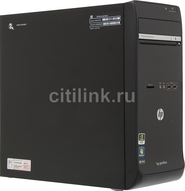 Компьютер  HP Pavilion p6-2110er,  AMD  A6  3600,  DDR3 2Гб, 500Гб,  nVIDIA GeForce GT530 - 2048 Мб,  DVD-RW,  CR,  Windows 7 Home Basic,  черный [h1g97ea]