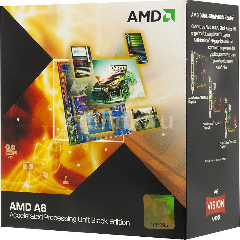 Процессор AMD A6 3670K, SocketFM1 BOX [ad3670wngxbox]
