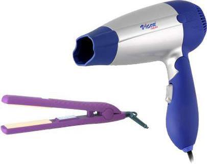 Выпрямитель для волос VIGOR HX-8171 + фен Vigor HX-8040,  фиолетовый