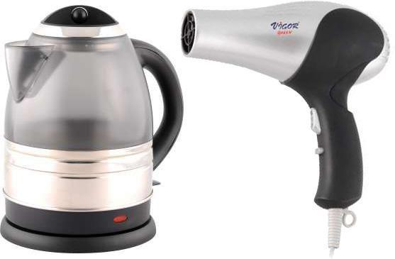Чайник электрический VIGOR HX-2069 + фен HX-8048, 2200Вт, серебристый