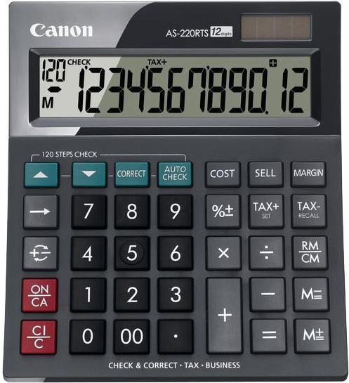 Калькулятор CANON AS-220RTS,  12-разрядный, черный