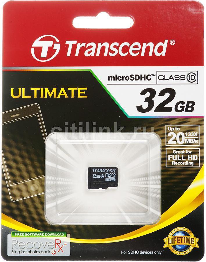 Карта памяти microSDHC TRANSCEND 32 ГБ, Class 10, TS32GUSDC10,  1 шт.