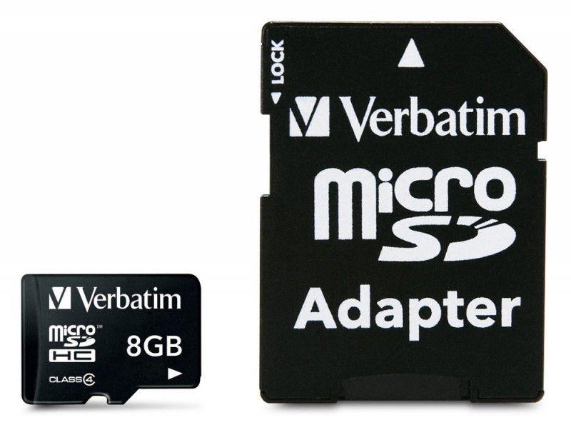 Карта памяти microSDHC VERBATIM 8 ГБ, Class 4, 043967-177,  1 шт., переходник SD