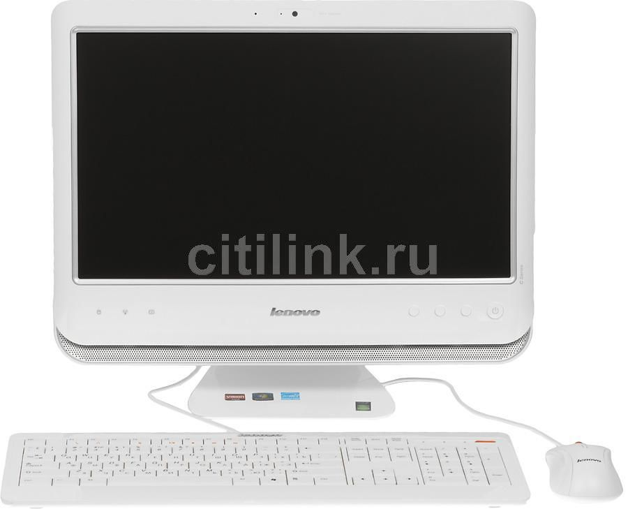 Моноблок LENOVO C205A, AMD Fusion E350, 2Гб, 500Гб, AMD Radeon HD 5450 - 512 Мб, DVD-RW, Windows 7 Home Basic, белый и серебристый [57305304]