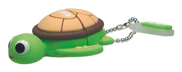 Флешка USB EMTEC M316 Sea Turtle 4Гб, USB2.0, зеленый и коричневый [ekmmd4gm316]
