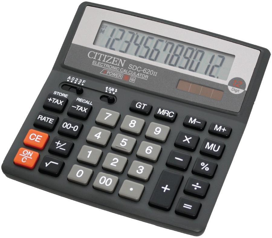 Калькулятор CITIZEN SDC-620 II,  12-разрядный, черный
