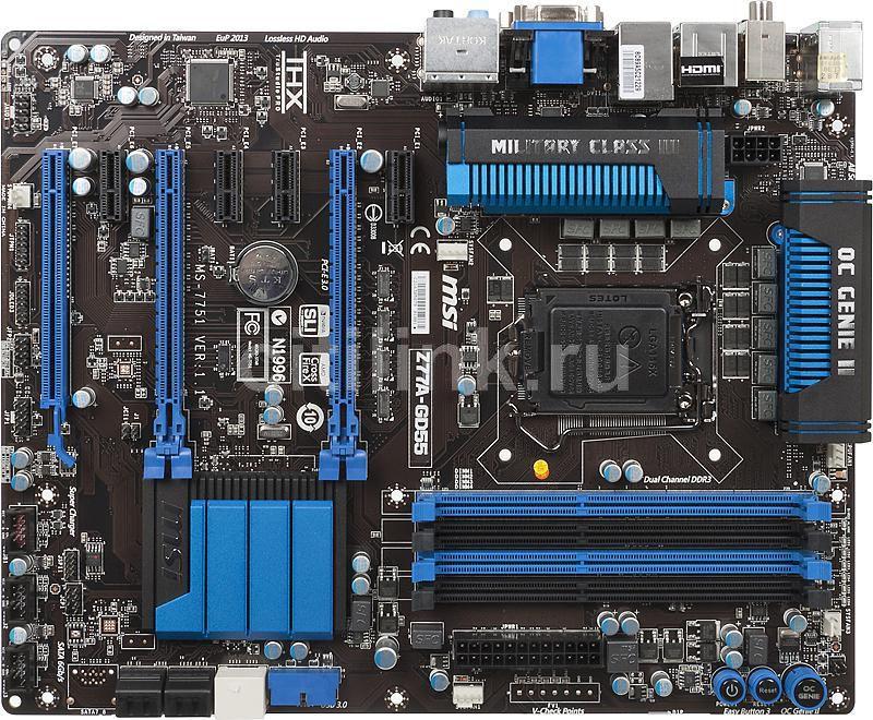 Материнская плата MSI Z77A-GD55, LGA 1155, Intel Z77, ATX, Ret