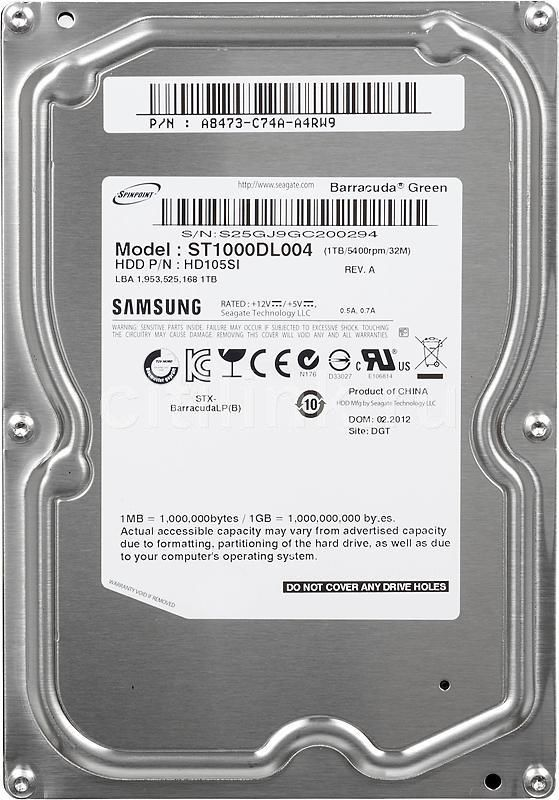 Жесткий диск SEAGATE Samsung Barracuda Green ST1000DL004,  1Тб,  HDD,  SATA II,  3.5