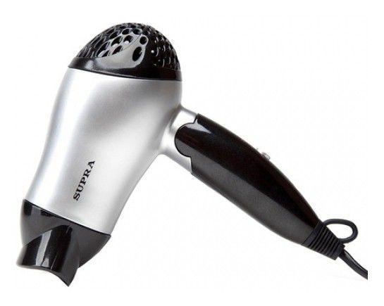 Фен SUPRA PHS-1200, 1200Вт, серебристый и черный